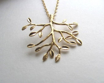 Gold tree branch pendant necklace on long 14k gold plate chain