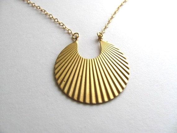 Egyptian sunburst pendant necklace, vintage gold tone round pendant on 14k gold plate chain