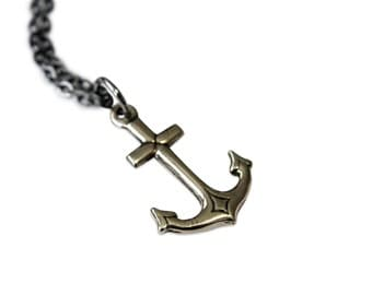 Anchor Jewelry Anchor Necklace - White Silver Bronze Necklace 063