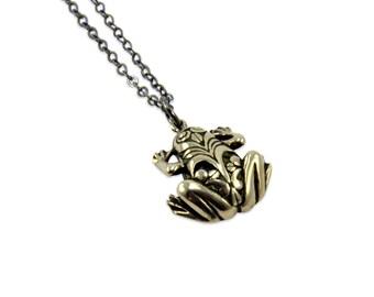 Frog Necklace -White  Bronze Fashion Jewelry