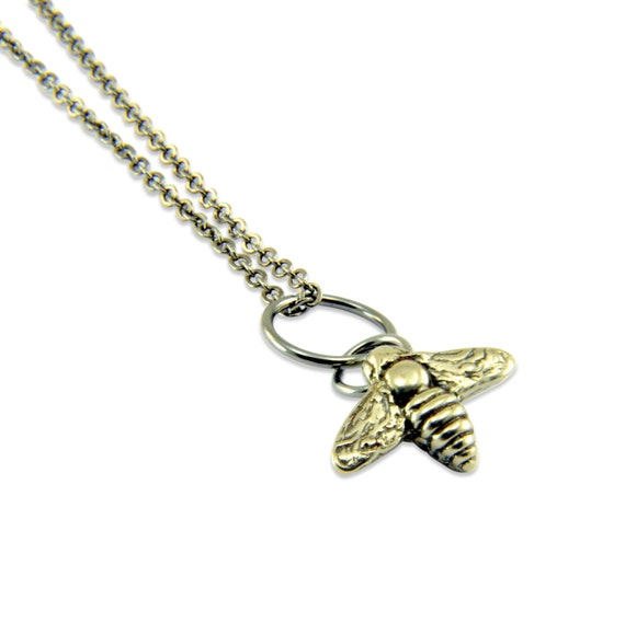 Bee Necklace - White Silver Bronze Flying Honey Bumble Bee Charm Necklace - by Gwen DELICIOUS Jewelry Design 042