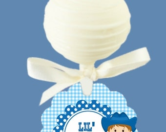 Set of 12 Cake Pop Tags, Baby Cowboy, Baby Cowgirl, Western Theme, Baby Gender Reveal Party, Baby Shower, Pink and Blue