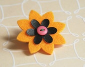 Orange Felt Flower Burst Pin