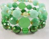 Green Bracelet Stack Set of Bracelets Wrap Bracelet Mint Green Emerald Green Spring Green Jewelry Green Ombre