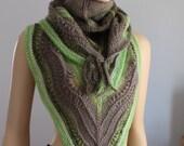 SALE 40% Off Hand Knitted Triangle Merino Wool Chunky Shawl  Scarf Wrap - Neck Warmer