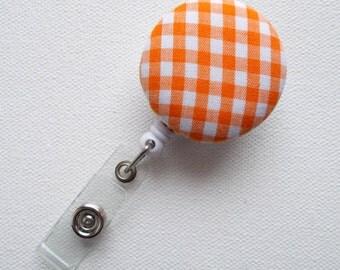 Retractable ID Badge Holder - ID Badge Reel  - Name Badge Holder - Nurses Badge Holder - Nursing Badge Clip - Orange Gingham