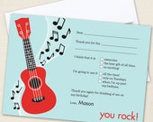 Rock Star Party Thank You Cards - Professionally printed *or* DIY printable