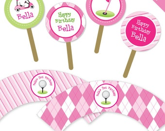 Pink Golf party - Personalized DIY printable cupcake wrapper and topper set