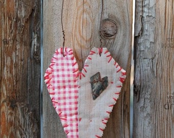 hanging quilted heart, red and white with rusted heart