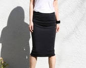 Ruched Pencil Skirt - Black Modal