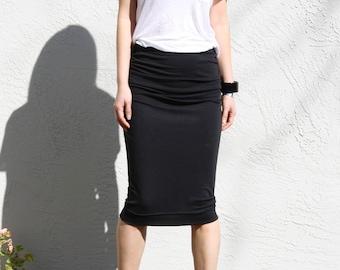 Ruched Pencil Skirt, Black Jersey Skirt, Pull On Skirt, Draped Skirt, Straight Skirt, Black Midi Skirt, Pull On Skirt - Black Modal
