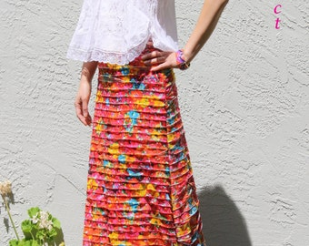 Aline Ruffle Knit Maxi Skirt / Handmade Skirt - Flower