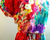 vintage 80s super lovely bright floral cotton dress by TONI   size large