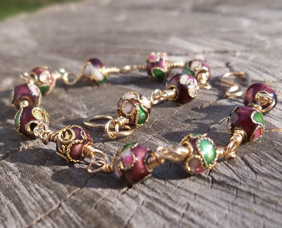 Purple Cloisonne 14k Gold Filled Wire Wrapped Whimsy Bracelet