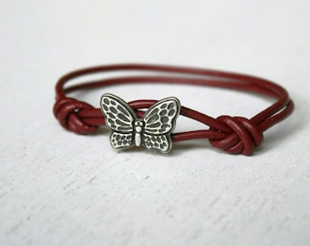 Butterfly Leather  Bracelet (many colors to choose)