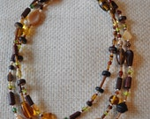 "Beaded NECKLACE - Long 23"" (46"") Multiple Colors Red Brown and Green Seed Bead Glass Bead - Goes with Everything Necklace 11"