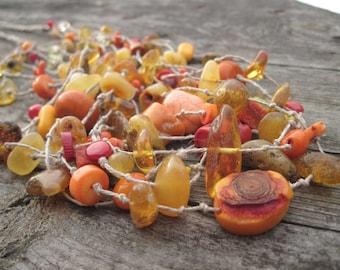 Baltic Amber Coral Necklace Linen Warm Multicolored Yellow Honey Sunny Orange Multi Strand Valentine's Day Gift for her Mother's Day
