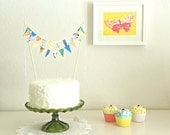 Blue Loden Fabric Bunting Cake Topper Decoration / Vintage Circus Style / As Seen On HGTV Blog