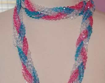 Chunly Pink and Blue Necklace, Long, 43 inches, Fits all Sizes, Design your Style, Vintage 1970's