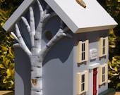 Wedding Card Box Birdhouse with Heart Carved Birch Tree