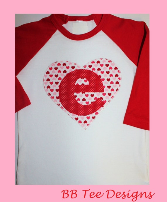 Personalized kids valentines day raglan shirt by beyondbaskets