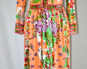 Vintage Maxi Length Hippie Dress, Signed Maurice by C. Rizza, Floral Bohemian Dress, Boho Chic Hippie Princess, Festival Dress
