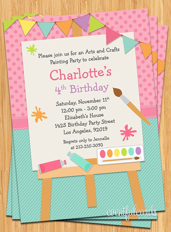art painting birthday party invitation for kids printable, Party invitations