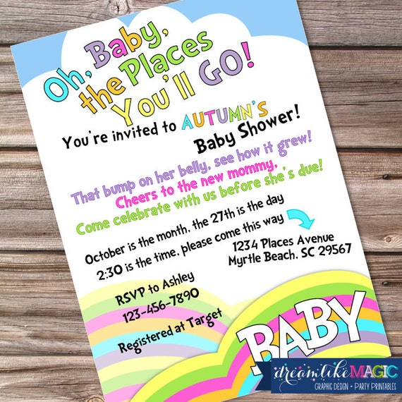 items similar to oh the places baby shower invite invitation with, Baby shower invitations