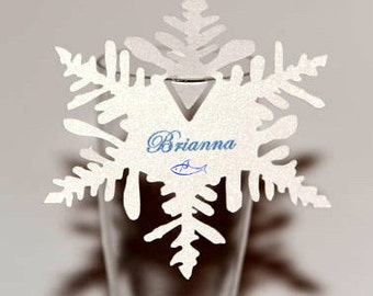 10 Personalized Snowflake Place Cards - Bookmark Favors - Holiday Decor - Scrapbooking