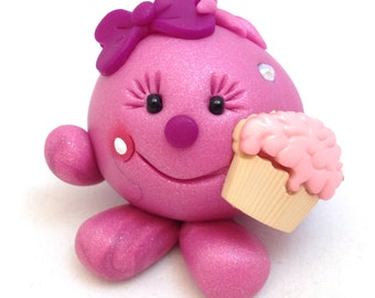 LOLLY with Cupcake - Polymer Clay Figurine - Whimsical Character