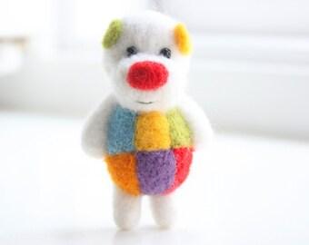 Colorful felted miniature pocket bear