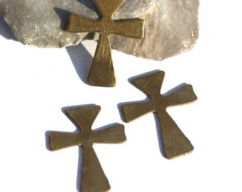 Bronze Cross Religious 27mm x 22mm Blank Cutout for Soldering Stamping Texturing DIY - 4 pieces