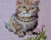 Fluffy Kitten Needlepoint Wall Hanging