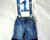 Super Birthday Man Outfit: Boy Birthday Outfit, shirt, jeans, suspenders, adjustable, removable, up-cycled, superhero, blue, black