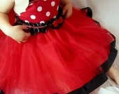 Minnie Tutu Party Dress: red & white polka dots black ruffle and sparkle ric rak lined, adjustable, birthday party, meet and greet, costume