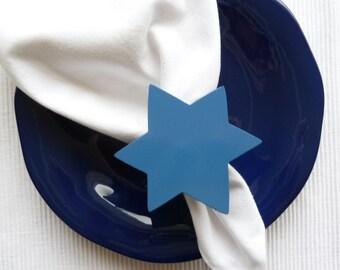 Star of David Napkin Rings - Blue - Set of 4