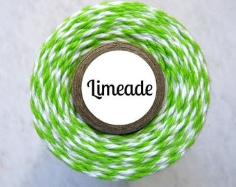 Lime Green & White Bakers Twine by Trendy Twine - Limeade - Christmas, Spring, Light Green
