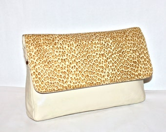 HALSTON Vintage Clutch Handbag Large Leopard Print Leather Foldover - AUTHENTIC -