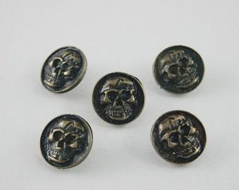 10 pcs Zinc Antique Brass Coins Skull Head Studs Rivets Decoration Findings 15 mm. SK RBR15 59