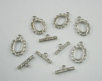 5 sets.Zinc Silver Toggle Clasps, Silver Necklace Closure Bracelet Closure Connector Bar and Ring Decorations Findings. PND Close2 RC