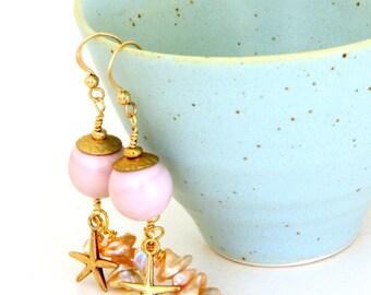 Soft Pink Glass Bead Earrings. Lampwork Bead & Starfish Earrings. Glass Bead Jewelry. Long Dangle Earrings. Gypsy Boho Earrings.