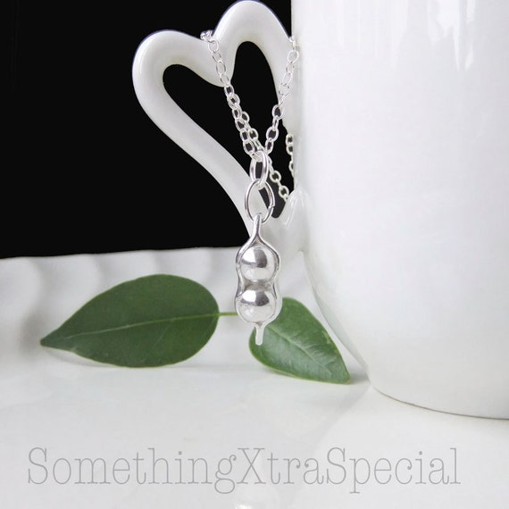 Pea Pod Necklace, 2 peas in a pod necklace Pendant for mommy best friends and twins Sterling