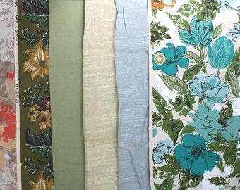 Lot of mid century decorator fabric samples. Floral fabric, solid, upholstery  fabric, curtain fabric, linen blend, cotton blend, variety.