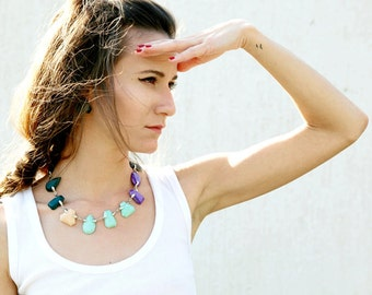 Polymer Statement Necklace, Faux Gem Necklace in Emerald Peach Mint Purple, Gem Candy Collection