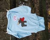 """Valentine's Day """"Moose be LOVE"""" Moose Handsewn Applique Baby Bodysuit, perfect for 1st Valentine's Day Pics"""