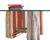 Tree Stump Coffeetable Base Reclaimed Wood Recycled Metal