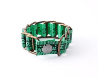 Tape measure bracelet  - Lime Green (upcycled vinyl/measuring tape)
