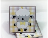 Lovable Lambs with Bow Tie-  Mini Cards Thank You cards Childrens cards (Set of 4)