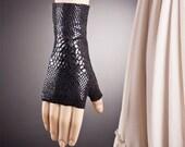 Snake Skin Inspired Short BLACK Fingerless Gloves