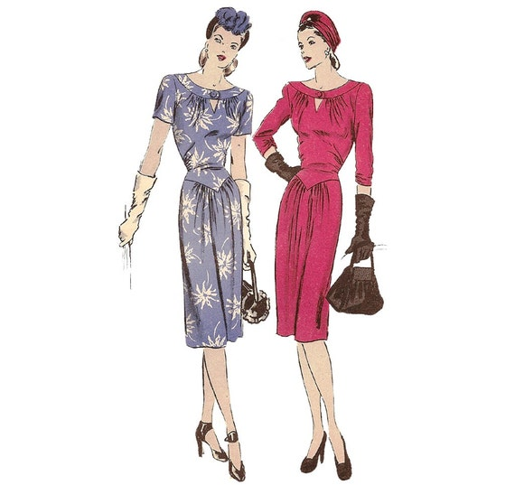 1940s Womens Dress with Keyhole Neck - Vogue 5290 Vintage Pattern - Bust 32